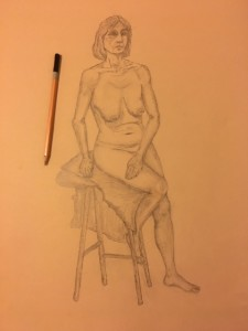 Women on Chair 2 - Pencil on Paper