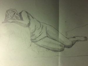 Women resting - Pencil on Paper