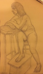 Women on Chair - Pencil on Paper