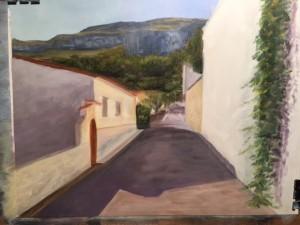 Spanish Street - Oil on Canvas