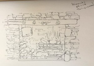 Fireplace - Ink on Paper